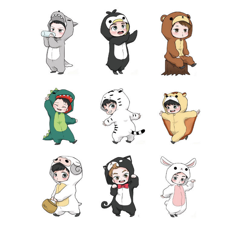 9pcs/set Kpopcartoon Animal Decal Stickers For Exo Album Diy Scrapbook Chen Suho Sehun Luggage Stickers Classic Toys Toys & Hobbies