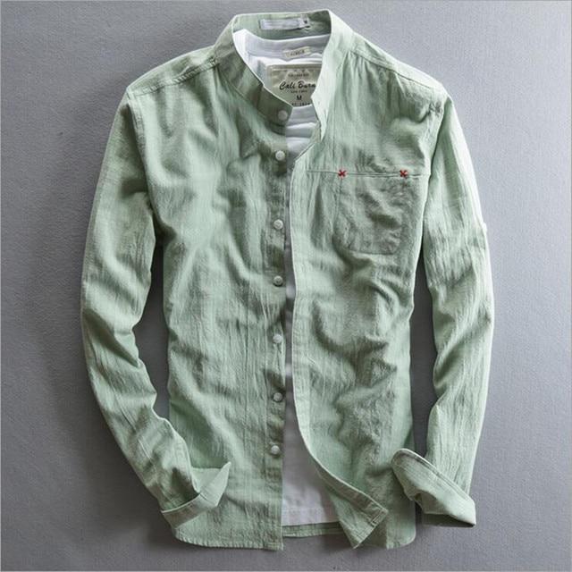 7f679feb938 men's cotton linen shirt 2016 spring Mandarin collar long sleeve summer  shirt men green blue white causal shirt for men pocket