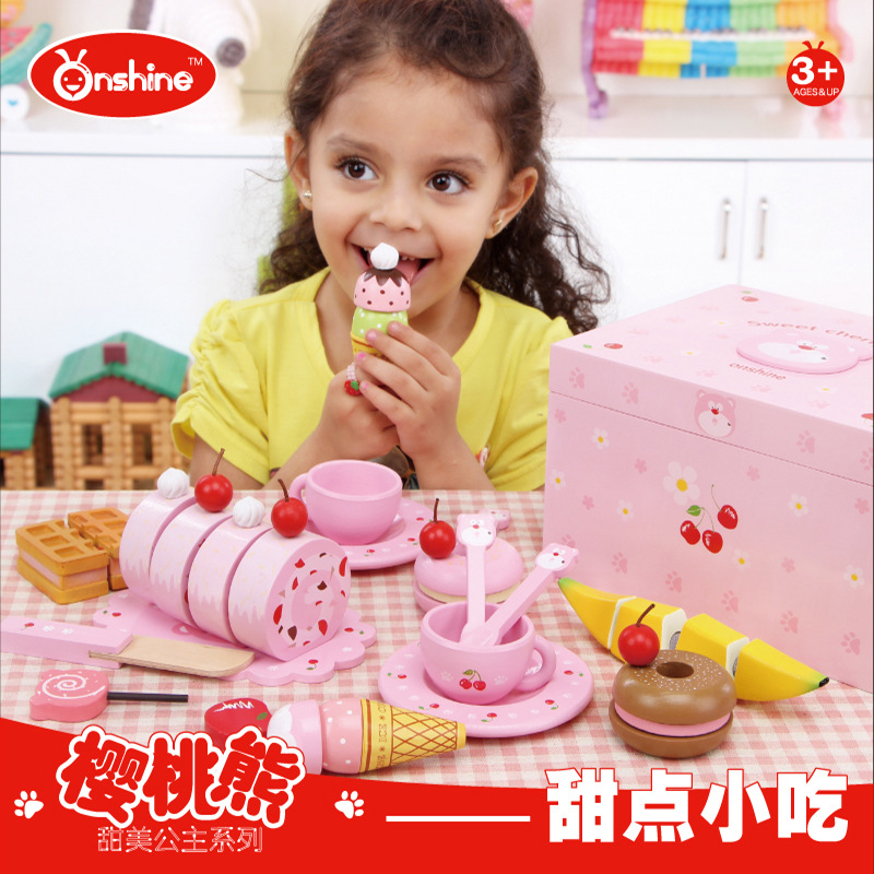 b97eb6a596 ONSHINE Pretend Play Kitchen Toys Breakfast set wooden bread fruit ice  cream banana cutting toys best gift for baby kids
