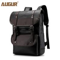 Augur Vintage Backpack PU Leather Women Rucksack Retro Large Business Laptop Backpacks Male School Shoulder Bagpack Zaino