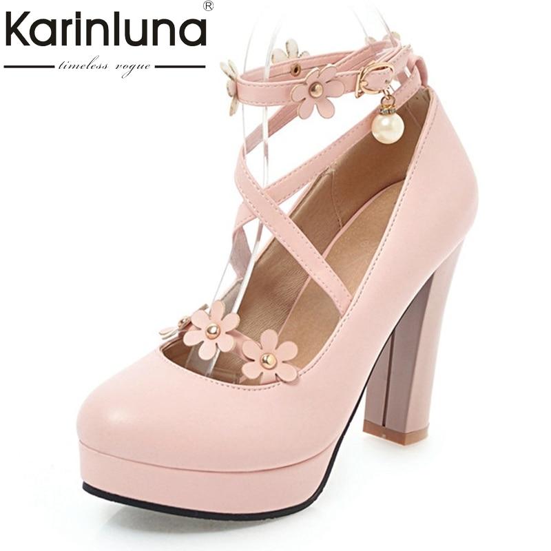 KarinLuna Women's Ankle Strap Flower Chunky High Heel Pumps Platform Party Wedding Bridal Shoes Woman Big Size 33-43 цены онлайн
