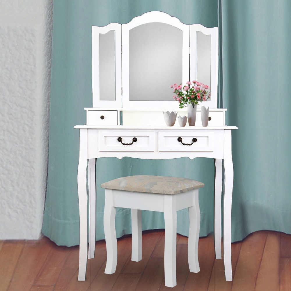 (Ship from Germany) Wooden Dressing Table 4 Drawer with Stool 3 Mirror Bedroom Furniture Makeup Desk ship from germany home white dressing table with mirror and stool make up dresser set