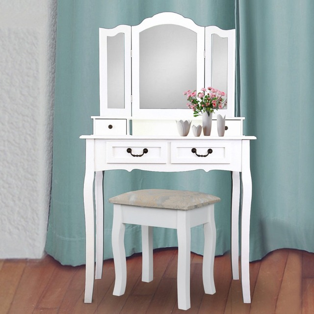 0fc99111e8 (Ship from Germany) Wooden Dressing Table 4 Drawer with Stool 3 Mirror  Bedroom Furniture Makeup Desk