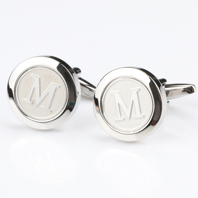 Mens Classic silver Initial Cufflinks Alphabet Letter Cufflinks Formal Business Wedding Shirts A-R