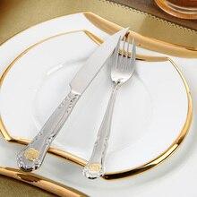 Cubertería de Acero Inoxidable Juegos de Comedor 24 Unids Restaurante de Cocina de Metal de La Boda Hermosa Vajilla de Oro Plateado Cena Conjunto