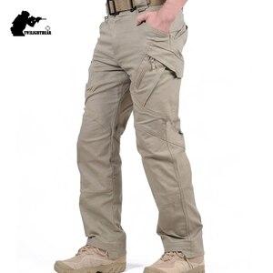 Image 1 - חדש גברים של למתוח טקטי מכנסיים מרובה כיס צבאי כותנה עירוני Combat מכנסיים גברים Slim עבודת מטענים צפצף 3XL BFIX79