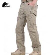 Nowe męskie Stretch spodnie taktyczne wiele kieszeni wojskowy bawełna walki miejskie spodnie męskie szczupła pracy spodnie Cargo 3XL BFIX79
