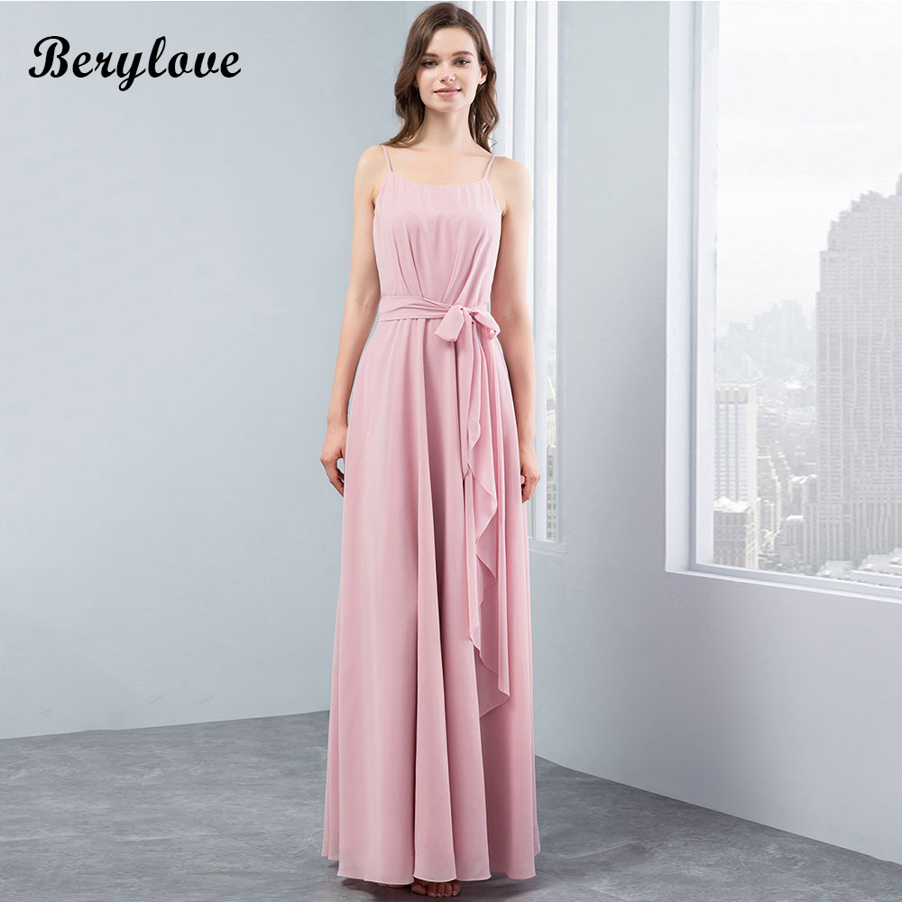 BeryLove Simple Blush Pink   Bridesmaid     Dresses   China Chiffon Long   Bridesmaid     Dress   Party Gowns 2018 Beach Wedding Party   Dresses