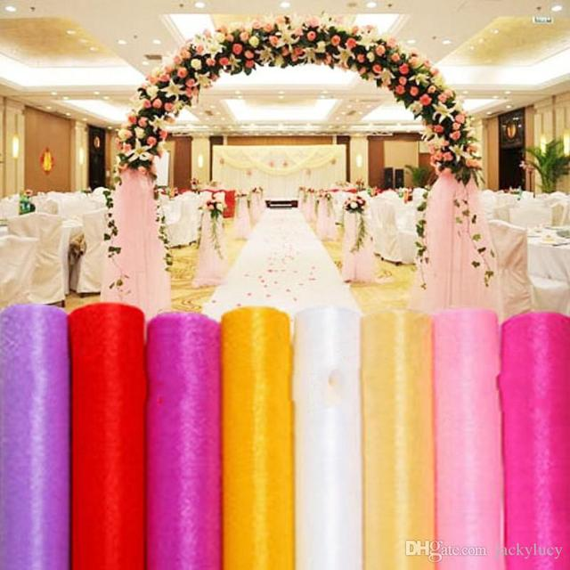 Chair Accessories For Weddings Lazyboy Office 75cm X 50m Roll Upscale Organza Tulle Yarn Covers Wedding Backdrop Curtain Decorations Supplies
