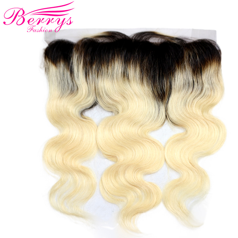 [Berrys Fashion] Lace Frontal Body Wave Ombre Color 1b/613 100% Human Hair Dark Roots Bleached Knots Baby Hair Remy Hair Closure-in Closures from Hair Extensions & Wigs    1