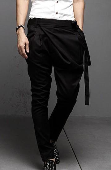 4606f59c8cad fashion men s harem suits pants yuppie British irregular Slim trousers  Personality punk novelty pants for men