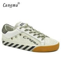 CANGMAผู้หญิงPailletteรองเท้าฤดูใบไม้ร่วงสีขาวหนังแฟลตประดับด้วย