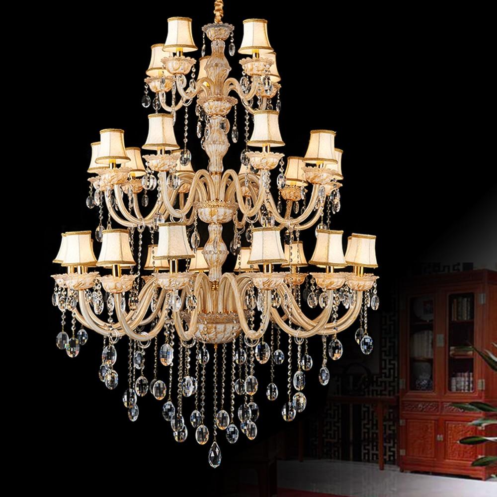 Европейские Роскошные хрустальная люстра светильник ясно большой hotel crystal свет люстры подвесной светильник пентхаус лестница повесить