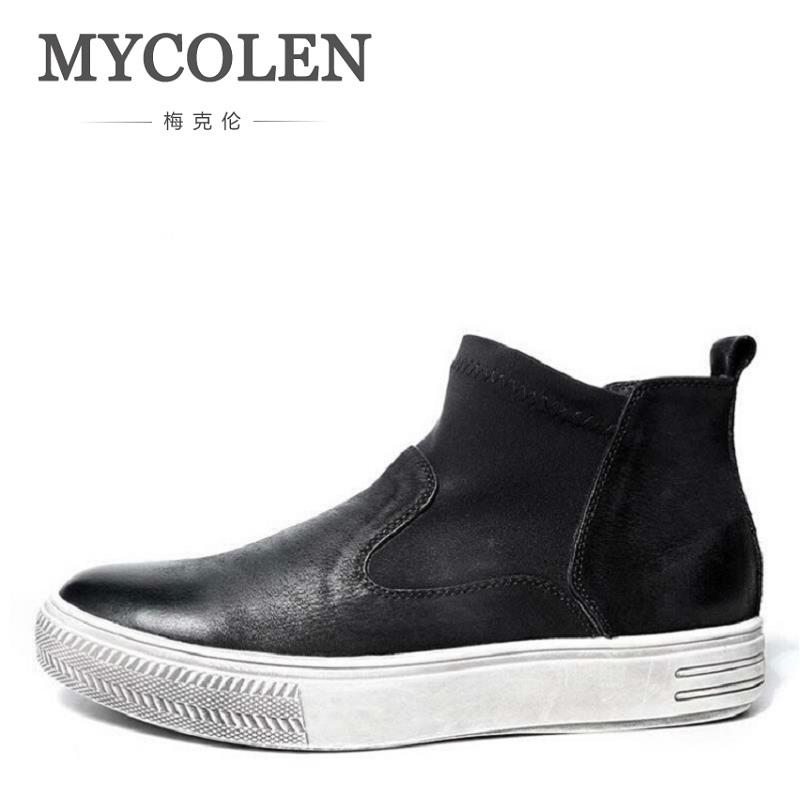 MYCOLEN British Retro Chelsea Boots Warm Genuine Natural Leather Handmade Men Winter Shoes Men Slip on Black Zapatillas Hombre serene handmade winter warm socks boots fashion british style leather retro tooling ankle men shoes size38 44 snow male footwear