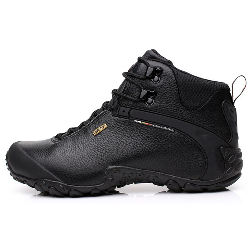 ФОТО Professional Wearproof Outdoor Hiking Shoes Genuine Leather Male Climbing Shoes High/Middle Model Slip-Resistant Walking Shoes