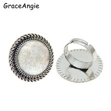 2pcs Vintage Rings Adjustable Blank Ring Setting Chic Rings Photo Frame Dome Base with glass cabochon(China)