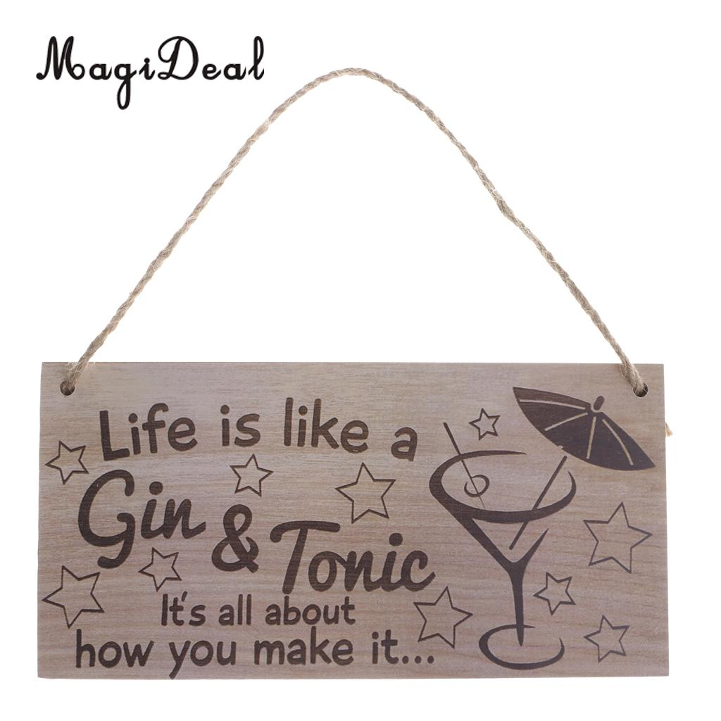 MagiDeal Life Is Like A Gin & Tonic Wooden Sign Home Bar Cocktail Party Wall Decoration Vintage design hanging plaque board image