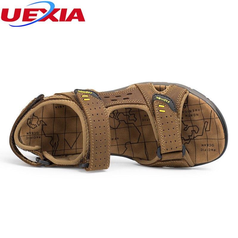 Uexia Новое поступление Для мужчин пляжные сандалии ручной работы кожаные мокасины Слипоны; летняя обувь для Для мужчин досуг прогулки прочны...
