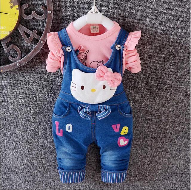 New Spring Autumn Children's Sets hello kitty cotton T-shirt & Denim Overalls Girl Clothing Set Children Clothing Kids Clothes