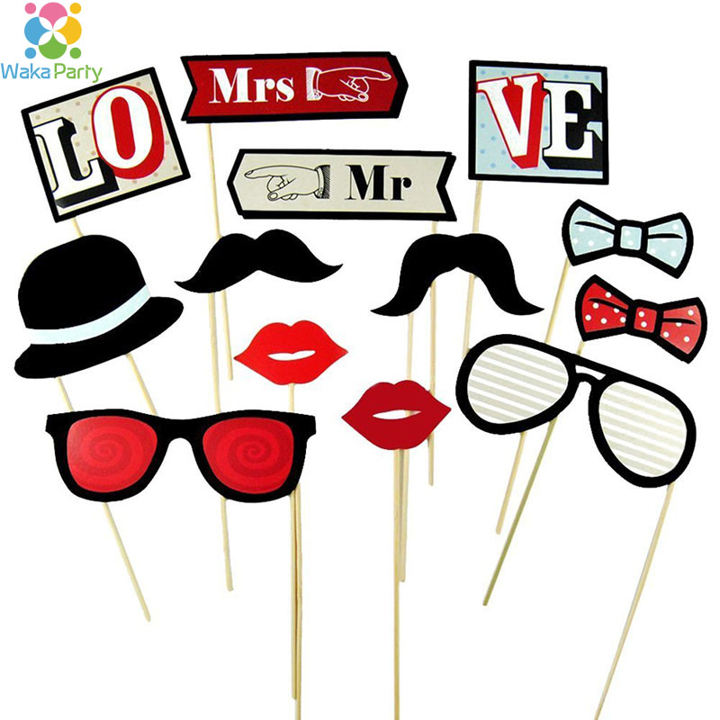 13 pcsset wedding photo booth props mr mrs mustache lip on a stick fun - Costume Props