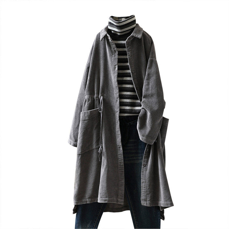 Spring Autumn Retro Corduroy Long   Trench   Coat With Pocket Doll Collar Shirt Coat Casual Loose Windbreaker Female Blusa Top f1161