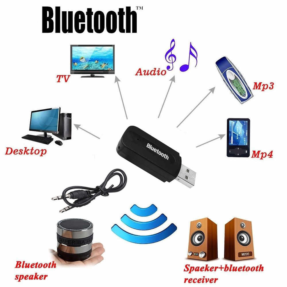3,5mm coche inalámbrico Bluetooth Aux Audio estéreo receptor de música Adaptador + Micrófono para PC
