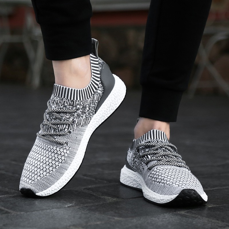 PUAMSS Sports Sneakers Shoes Socks Athletics Outdoor Black Jogging Walking Male Breathable