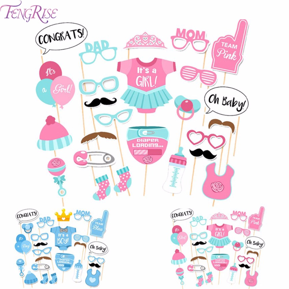 FENGRISE 25 unids Baby Shower Favors Photo Booth Atrezzo Su a Boy Girl Fun PhtotoBooth 1er Cumpleaños Fiesta Decoración Azul Rosa