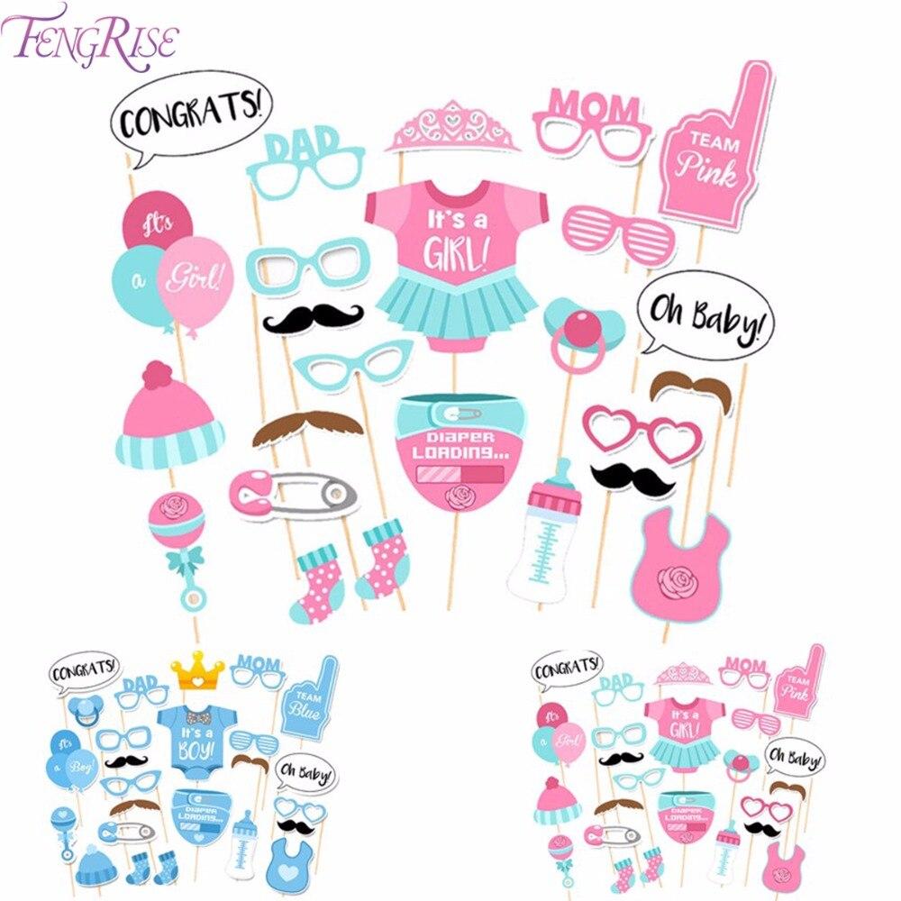 Fengrise 25 шт. Baby Shower сувениры Photo Booth Реквизит его мальчик девушка весело phtotobooth 1st День рождения украшения синий розовый