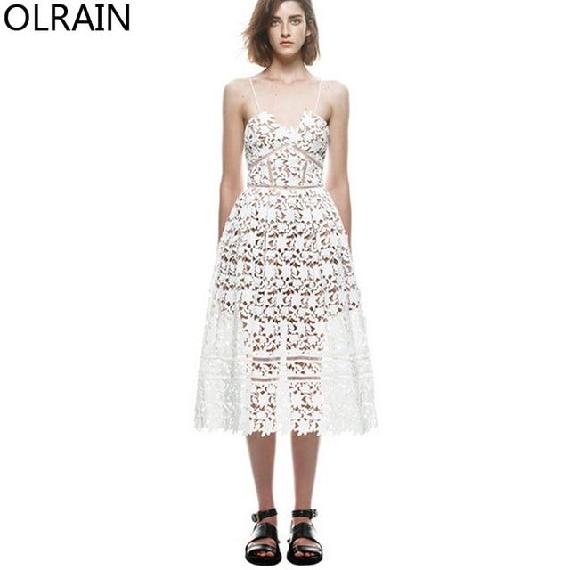 Olrain Women Fashion Sexy V-neck Crochet Lace Hollow Out Spaghetti Strap Dress  Sleeveless Slim Knee-Length Slip Dress fa0f580ab351