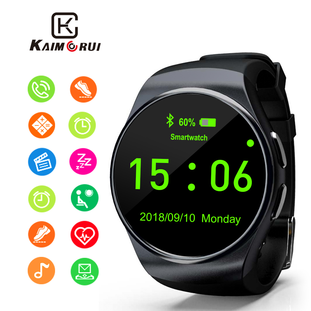 Kaimorui montre intelligente prend en charge la carte SIM TF Bluetooth Smartwatch téléphone podomètre fréquence cardiaque pour iPhone Xiaomi téléphone Android