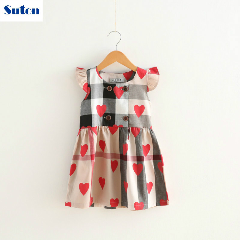 suton Toddler Infant Kids Baby Girl Dress Red Plaid Print Cute Dress Summer New Short-sleeved Dress Outfits Lovely Clothes 3-7Y