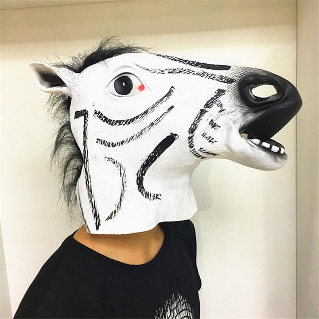 Full Head Horse Face Mask Animal Mask latex party Crazy Rubber Creepy Mann  Halloween Costume Halloween