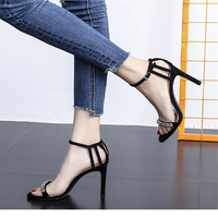 European style high end women's shoes 8cm buckled suede high heel sandals 2018 new summer sexy night drill hollowed out finger