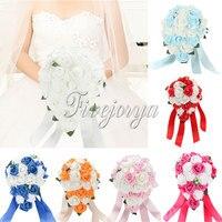 Romance Wedding Bouquet Bridal Rose Teardrop Handmade Silk Flowers reception centerpieces Brooch Crystal Decor