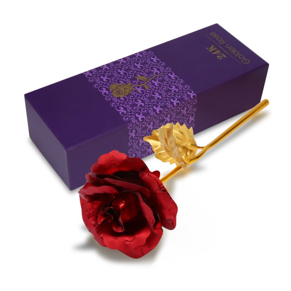 Drop Shipping 24k Gold Foil Plated Rose Creative Gifts Lasts Forever For Lover S Wedding Christmas Day Hot Ing In Artificial Dried Flowers