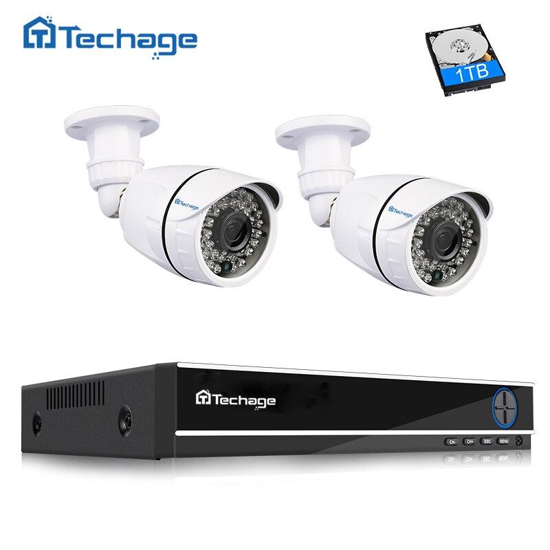 Techage 4CH 1080 P HDMI AHD DVR CCTV Système 2 PCS En Plein Air Étanche 2MP Caméra de Sécurité Vidéo Surveillance Système E-mail alerte