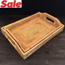 2 Pcs / Lot cutlery tray Kitchen Organization Rattan Storage Trays fruit dish baskets Candy snacks pastry sundries plate dishes