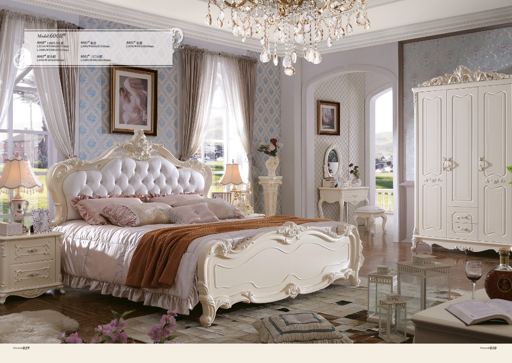 Classical white color bedroom set furniture price with large ...