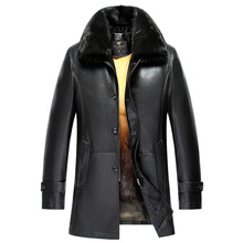 Luxury Warm Winter Men's Genuine Leather Jackets and Coats Long Coat Rabbit Fur Inside Mink Fur Collar Winter jaqueta de couro