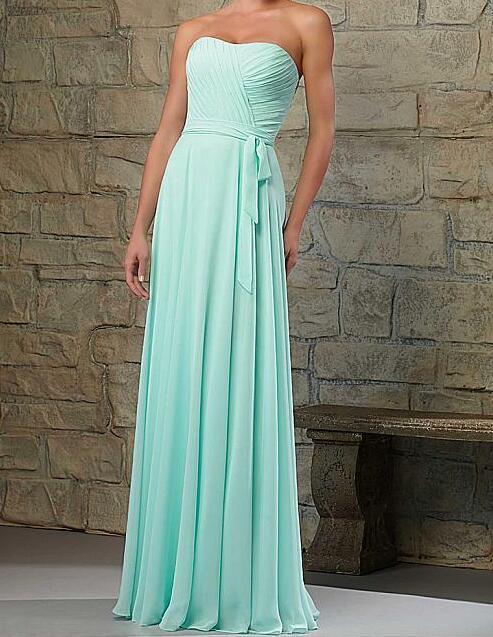 2017 SexeMara Chiffon Strapless Bridemaid Dress A-line Maid of Honor Dress Custom Made