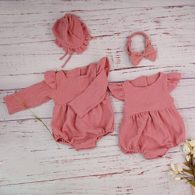الخريف طفلة الملابس قميص قطني بكم طويل رومبير ل مولود جديد الشتاء البوتيكات الكتان Playsuit صور الدعائم الرضع الزي 1