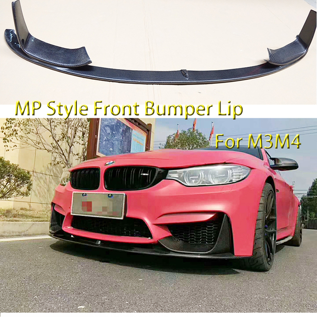 For Bmw M3 M4 Carbon Fiber Front Bumper Lip Chin Spoiler With