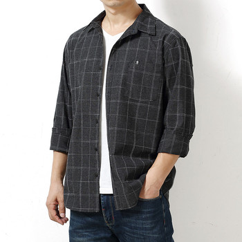 Autumn Plaid Cotton Long-Sleeved Men's Shirt