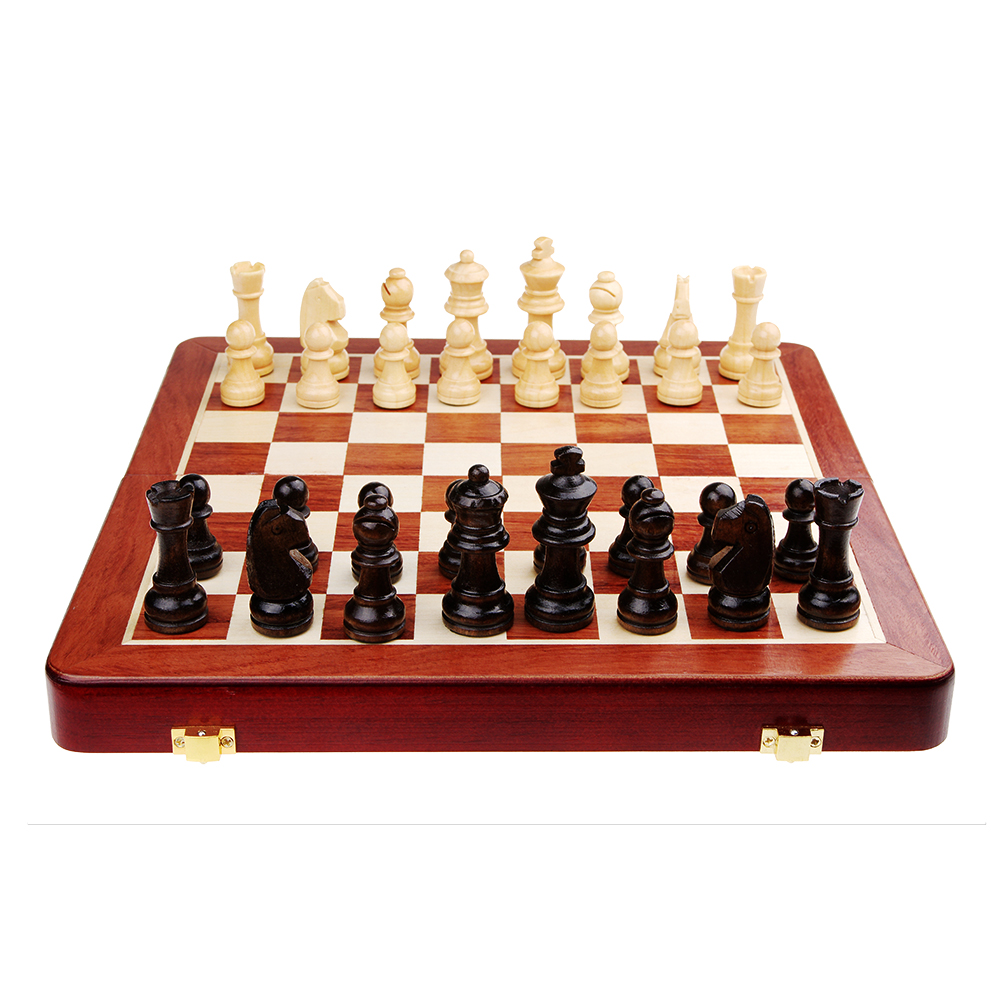 Best kids educational toys high quality standard wooden folding portable wooden chess set with chess pieces