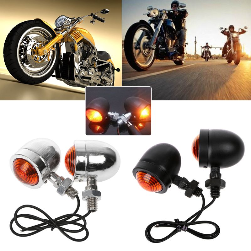 1 Pair Motorcycle Turn Signal Indicator Light Amber Motorbike Blinker Headlight 12v Indicator Lamp Bullet Chrome Car Accessories