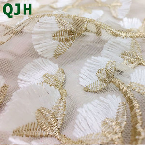 Image 4 - 5y Exquisite Gold thread 3D embroidery lace fabrics,High quality white mesh Openwork wedding Accessories Dress embroidered cloth