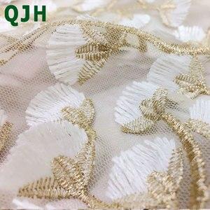 Image 4 - 5y fils dorés et tissus en dentelle 3D brodés, tissu brodé de haute qualité, mailles blanches, accessoires de mariage pour robe