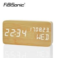FiBiSonic 나무 LED 알람 시계, 날짜 + 주 + 시간 온도 사운드 제어 전자 디지털 테이블 데스크탑 시계