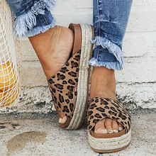 Sexy Leopard Ladies Slippers Pu Leather Open Toe Platform Casual Shoes Women Slippers Summer Outdoor Beach Femme Pantoufle W-705